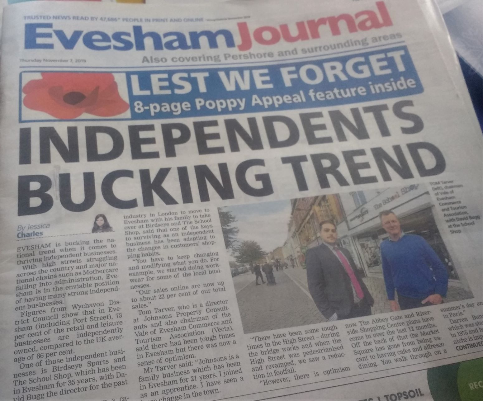 Front page news for Evesham independent businesses